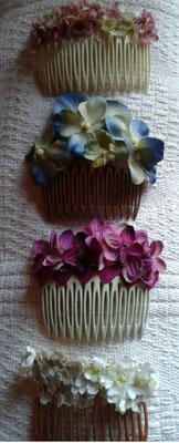 peinecillos de flores de tela