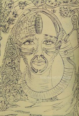 Holzschnitt Krieger, hellgelb auf schwarzem Künstlerpapier