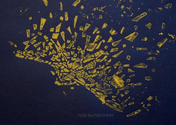 Holzschnitt fliegender Vogel, gelb auf schwarzem Künstlerpapier
