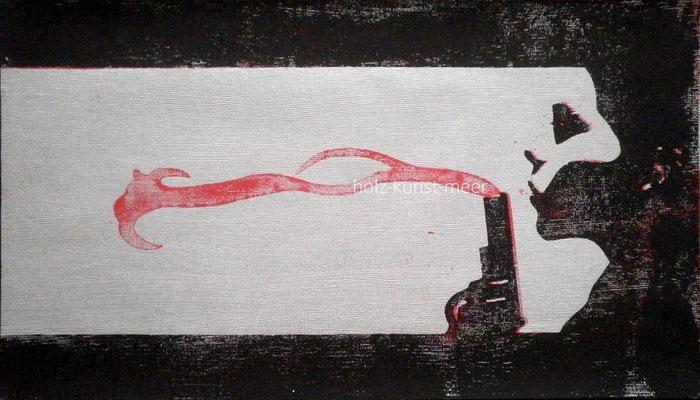 Holzschnitt Schießbild, schwarz und rot auf silberner Tapete