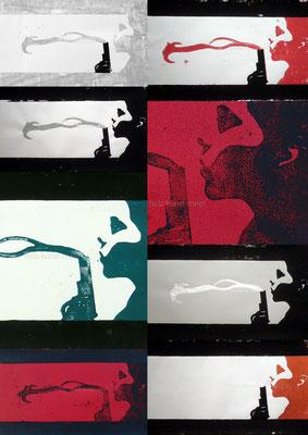 Collage von verschiedenen Holzschnitten, Schießbilder