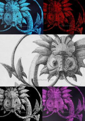 Collage von verschiedenen bunten Holzschnitten und Fineliner Zeichnung, ornamentaler Fisch