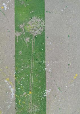 Holzschnitt  Pusteblume, grün und bunte Kleckse auf grauem Packpapier