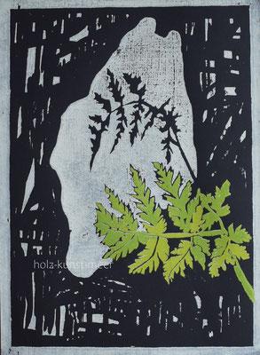 Holzschnitt Farn, hell- und dunkelgrün, auf schwarzem Künstlerpapier