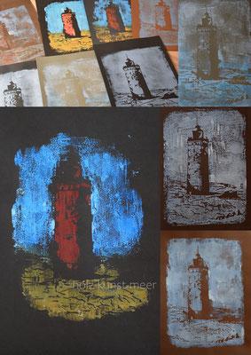 Holzschnitte Collage von verschiedenen Holzschnitten, Leuchttürme von Rubjerg Knude