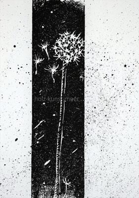 Holzschnitt Pusteblume, schwarz mit Klecksen auf weißem Künstlerpapier