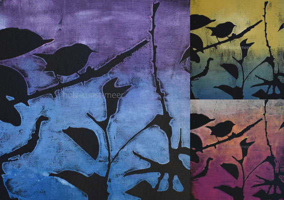 Holzschnitte Collage, Vögel, bunt auf schwarzem Künstlerpapier
