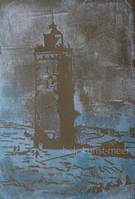 Holzschnitt Leuchtturm von Rubjerg Knude, weiß und blau auf farbigem Künstlerpapier