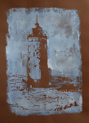 Holzschnitt Leuchtturm von Rubjerg Knude, weiß und hellblau auf braunem Künstlerpapier