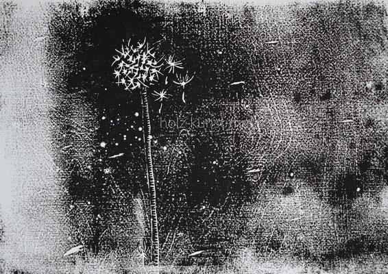 Holzschnitt Pusteblume, schwarz auf weißem Künstlerpapier