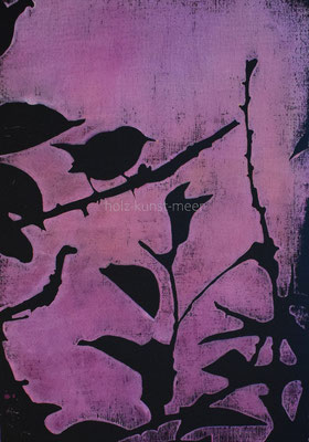 Holzschnitt Vogel, rosa