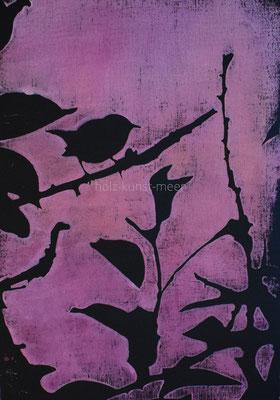 Holzschnitt Vogel, rosa auf schwarzem Künstlerpapier