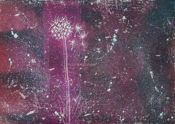 Holzschnitt Pusteblume, bunt mit Klecksen auf weißem Künstlerpapier