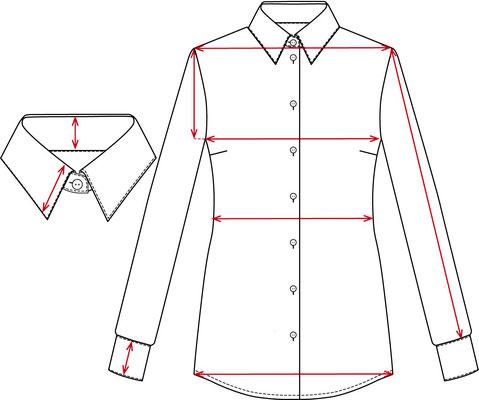Zeichnung mit Bemaßungslinien Bluse klassisch