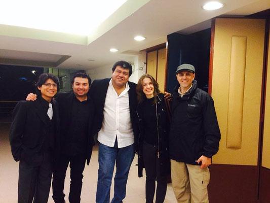 7 de julio de 2014. Lima, Perú. Primera noche del Festival Internacional de Guitarras Cuerdas al Aire. De izquierda a derecha: Jairo Rosales, Ricardo Villanueva Imafuku, Ernesto Hermoza, Wiktoria Szubelak y Marcelo Coronel