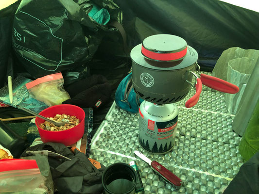 Tent organization and cooking inside