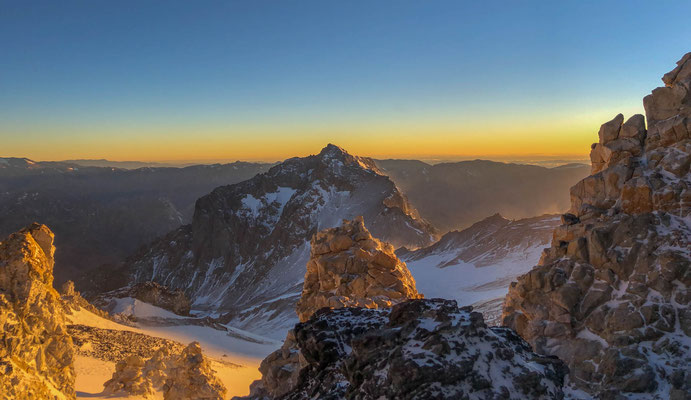Sunrise over Ameghino and White Rocks