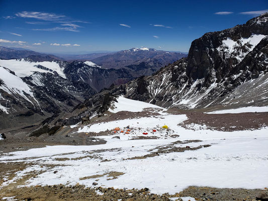 Camp 2 (5400m) on the Guanacos route far below