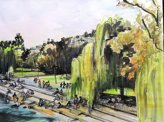 Wipkinger Park, 30x40cm, ink and auarelle on paper ----sold
