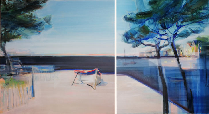 PINE TREES AND BOATS 11/20 zweiteilig 100X100CM + 80X100CM---SOLD