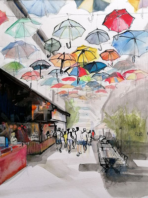 Umbrella Alley, 30x40cm, ink and aquarelle on paper ----sold