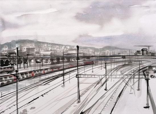 View from Hardbrücke, 30x40cm, ink and auarelle on paper ----sold