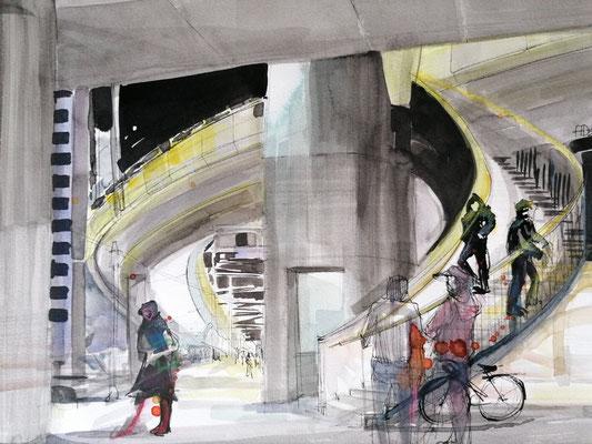 Hardbrücke I, 30x40cm, ink and aquarelle on paper