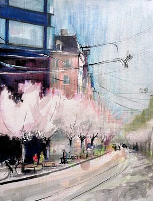 Seestrasse, 30x40cm, ink and aquarelle on paper