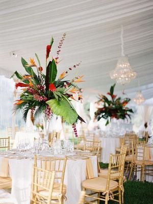 Composition de table haut de gamme fleurs mariage