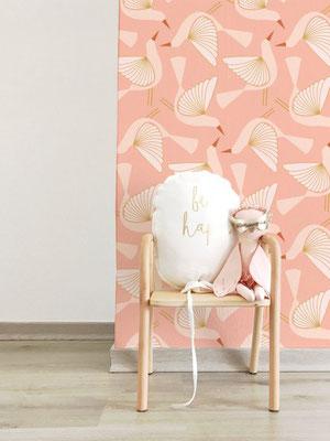 Papier peint Oiseaux rose.
