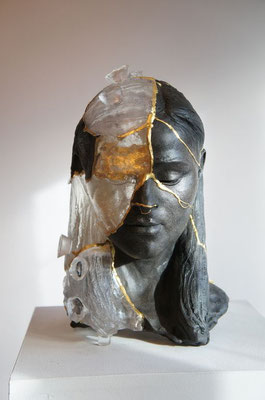 Kintsugi Head 1 Billie Bond Sculpture Saatchti Art