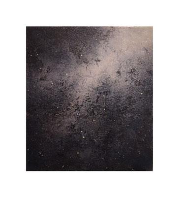 青い花 夢/  Blue Flowers : Dream 2016 Oil,wax,mineral pigment on lawn with plaster stretched wood panel 53×46(cm)