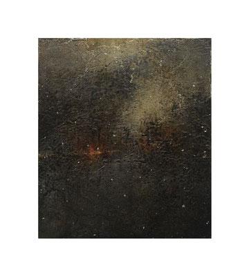 火消壺の中 / In the Charcoal Extinguisher 2016 Oil,wax,mineral pigment on lawn with plaster stretched wood panel 53×46(cm)