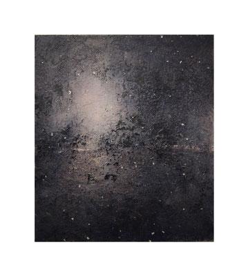 青い花 夜 /  Blue Flowers : Night 2016 Oil,wax,mineral pigment on lawn with plaster stretched wood panel 53×46(cm)