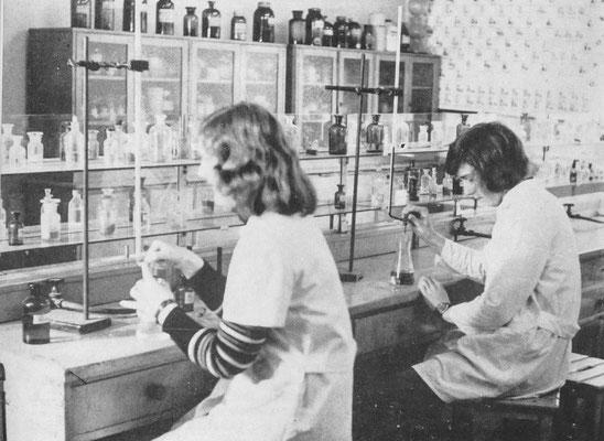 Schüler der 11. Klassen arbeiten im Chemieraum