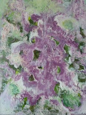 """""""Rosa und Grün"""", Acryl/Strukturpaste auf Leinwand, 70 x 50 cm, 2011"""