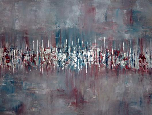 """Verträumt"", Acryl/Blattsilber auf Leinwand, 60 x 80 cm, 2019"