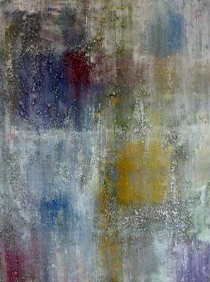 """Gelbes Quadrat"", Acryl/Steinmehl auf Leinwand, 60 x 80 cm, 2018"