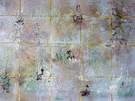 Ohne Titel, Mischtechnik, Acryl/Salz auf Leinwand, 60 x 80 cm