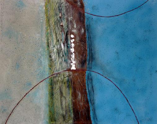 """Balance"", Acryl/Steinmehl/Blattsilber auf Leinwand, 80 x 100 cm, 2019"