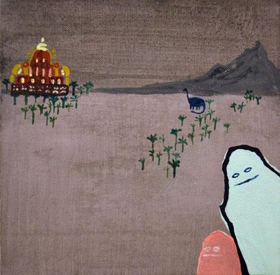 belen y esteban en turquia, 20x20cm, acrílico sobre lienzo, maría azcona 2015
