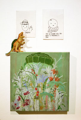 Jardin lagerfeld, 20x20cm, acrílco sobre lienzo; doria y garagalza, boli sobre papel, maría azcona 2015