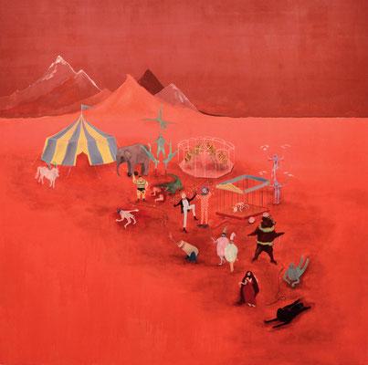 Circo rojo, 200x200cm, óleo sobre lienzo, maría azcona 2015