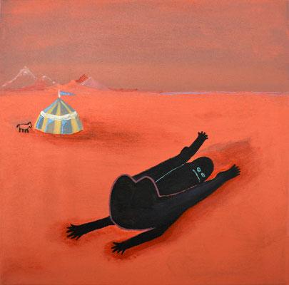 Contorsionista circo rojo, 30x30cm, acrílico sobre lienzo, maría azcona 2014