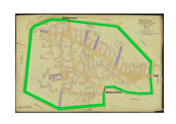 Bild 3: Ortsplan mit Hecke, Hohl- und Brühlpforte, Tor und Stichstraßen