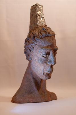 """"""" Samouraï"""" Sculpture grès roux cuisson Noborigama H40cm """"Pièce Unique"""" -Juan José Ruiz dit """"Caco""""  Artiste Sculpteur/Auteur"""