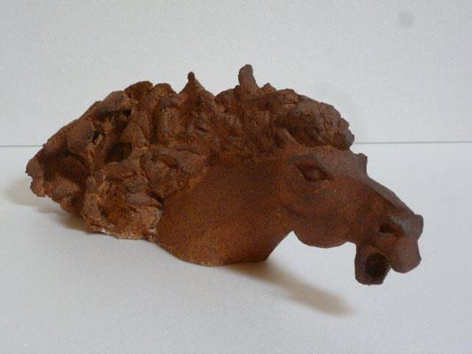 """""""Furie 1"""" Sculpture grès roux cuisson Noborigama H13cm/L34cm Pièce Unique -Juan José Ruiz dit """"Caco"""" Artiste Auteur/Sculpteur- 450€"""