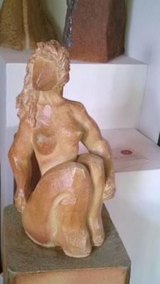 """""""En attendant"""" Sculpture grès noir cuisson four à bois -Noborigama- de Juan José Ruiz  Artiste/Auteur Sculpteur céramiste dit Caco Avril 2019"""
