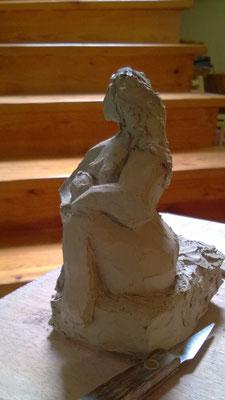 """""""En attendant le printemps""""  Sculpture grès blanc cuisson Noborigama H14cm """"Pièce Unique"""" -Juan José Ruiz dit """"Caco""""  Artiste Sculpteur/Auteur"""