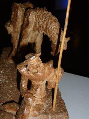 """""""Lonesome Quichotte"""" Sculpture grès noir cuisson Noborigama H26cm/L32cm/larg13cm """"Pièce Unique"""" -Juan José Ruiz dit """"Caco""""  Artiste Sculpteur/Auteur"""